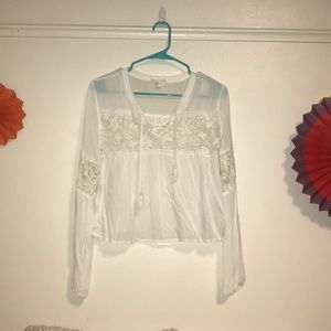 Forever 21 crocheted white crop